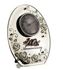 RUBY WEDDING ANNIVERSARY GIFT OVAL MIRROR 40TH CLOCK 17852