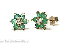 9ct Gold Emerald and CZ Cluster Studs earrings Gift Boxed Made in UK