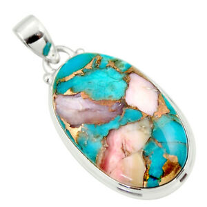 925 Sterling Silver 22.02cts Natural Pink Opal In Turquoise Oval Pendant R33815