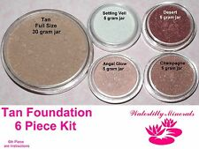 6 Pc Lot Tan Minerals Bare Makeup Foundation Blush Veil Kit  # 5.2 New/Sealed
