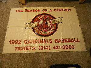 "1992 Busch Stadium II St Louis Cardinals 100th Anniversary 4' X 70"" Stadium Sign"