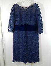 vintage 50s navy blue GOTTLIEB ARMAO lace party dress velvet cocktail XL