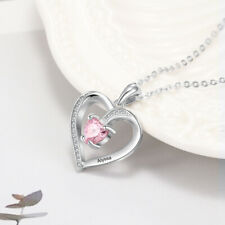 Engrave Name Heart Pendant Women Necklace Gold/Rose Gold Birthstone Jewelry Gift