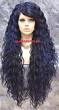 Long Curl Layered Off Black Blue Mix Full Lace Front Wig Heat Ok Hair Piece NWT