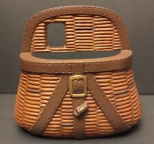 Vintage Home Interiors Homco Fishermans Woven Basket Wall Hanger Pocket Planter