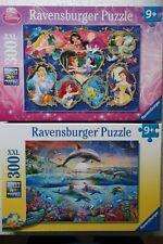 "2 Ravensburger 300 pc XXL Puzzles - ""Disney Princess"" & ""Dolphin Paradise"""