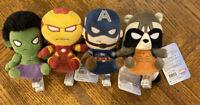 "Funko Mopeez MARVEL Lot of 4 Plushes 5"" Hulk Iron Man Captain America Rocket"