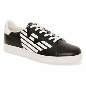 EA7 Youths Logo Trainers (Black White)