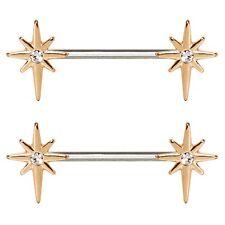 TWO-TONE NORTHERN STAR NIPPLE PIERCING RINGS BARBELLS 14 Gauge (Sold in Pairs)
