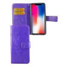 CUSTODIA PROTETTIVA FIORI PER CELLULARE APPLE IPHONE X Viola Wallet Cover Case