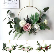 Artificial Rose Flower Wreath Hanging Silk Garland Ring Wedding Wall Party