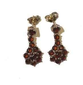 925 gold plated garnet dangle earrings 3.6g unique ladies