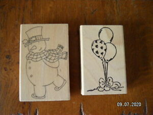 Lovely Selection of Wooden Backed Rubber Stamps. Choice of 2  (29 - 30)