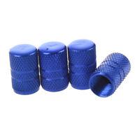 4 Stueck Metall Auto Reifen Ventil Stiel Deckel blau