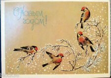 1987 Russian postcard HAPPY NEW YEAR Birds on the tree branch covered with snow