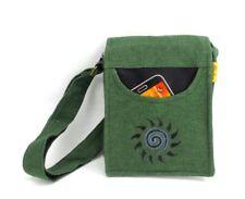 Crossbody Boho Purse Green Black 100% Cotton Embroidered Spiral Sun Hippie Bag