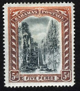 BAHAMAS # 34 VF UNUSED 5d QUEEN'S STAIRCASE /ORANGE & BLACK CAT VALUE $66