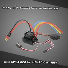 80A Adjustable Sensored/Sensorless Brushless ESC 5V/3A BEC fr 1/10 RC Car