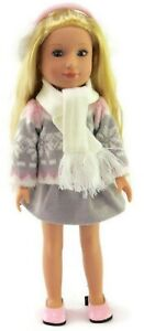 """Gray & Pink Winter Skirt Set for 14.5"""" American Girl Wellie Wishers Doll Clothes"""
