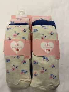 Kids Girls Ex Mothercare Multi Tights 2 PACKS OF 3 Tights RRP £20
