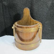 Vintage Wall Pocket Solid Wood Pail Barrel
