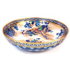 """Antique Large Losol Ware Parrot Handpainted Blue Bowl 11.50"""""""