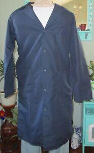 "Best Medical Men L/S Lab Coat Snaps side Vents 3 Pocket 43"" Length Navy Sz XS"