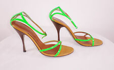 Dolce Gabbana Sz 39.5 EUC US 9.5 M Green Patent Leather Strappy Heels