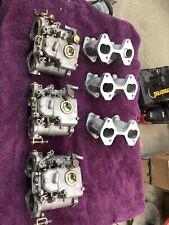 Bmw M30 Triple Carburetor Setup Weber 40dcom And Intake Manifolds