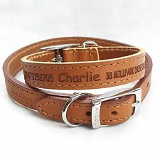 Personalised Engraved Leather Dog Collar, puppy unique pet id, plus FREE GIFT