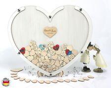 Gästebuch Herz Hochzeit Bilderrahmen eiche weiß Personalisierbar f 100 Personen