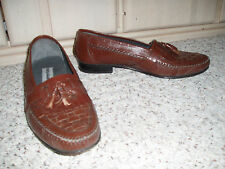 Mens STACY ADAMS Leather Slip-On Weaved Loafer Dress Shoes~Brown~Size 10 M