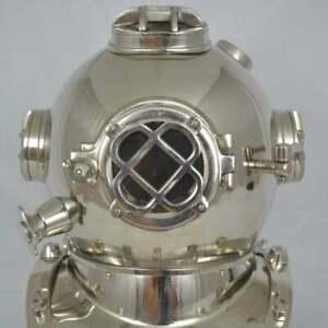 Vintage Brass Chrome Divers Helmet Chrome Navy Mark Morse Deep Sea Divers
