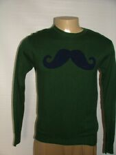 NEW WT JARED CREWNECK SWEATER SIZE S 100% COTTON GREEN BLUE MUSTACHE   #120