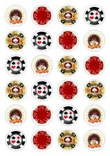 24 CASINO 'POKER CHIPS Cupcake Cake Topper Decorazioni Commestibili Carta di riso