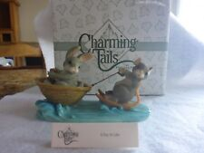 """Retired Charming Tails """"A Day at the Lake""""~Mouse Water Skiing, Bunny Boat,Summer"""