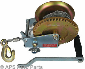 Manual Hand Winch 1000lbs Boat Trailer Caravan 20m 65ft Cable Marine Puller New