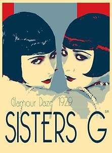 GATSBY vintage art print deco wall poster canvas painting twin girls Australia
