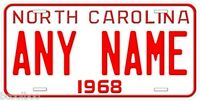 North Carolina 1968 Any Name Novelty Car License Plate