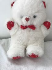Children's Soft Toy White Teddy Red Hearts <JJ2024