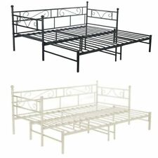 Single Double Metal Sofebed Frame Trundle Bed Guest Daybed Sofa Bed Black/White