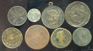 lot de 8 medailles ,  monnaies ,  divers
