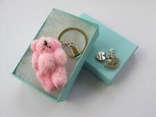 Pink Soft Fluffy Teddy Bear Handmade Special Nan Keyring Charm - Boxed Gift