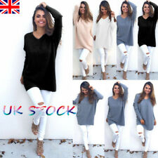 UK Women's Knitted Long Jumpers Tops V Neck Thin Sweater Baggy Loose Blouse 8-22