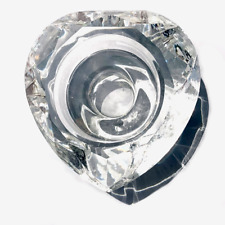 Enchante Clear Tea Light Diamond Cut Heart Crystal Candle Holder, Fast SHIPPING