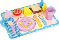 LELIN WOODEN WOOD BREAKFAST CEREAL TOAST KITCHEN FOOD TRAY CHILDRENS PLAYSET TOY