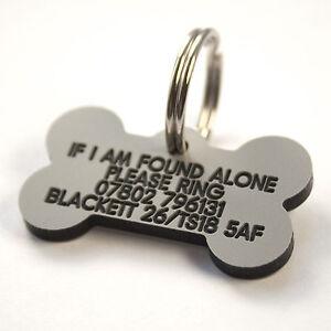 Engraved Plastic Dog tag Bone shape 39mm x 22mm 7 colours personalised