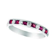 0.55 Carat Natural Diamond & Ruby Ring Band 14K White Gold