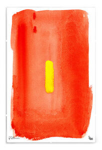 Modern Watercolour Red Yellow Abstract Limited Edition Print in A3 Clip Frame