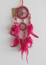 Cute Small Red Beaded Double Circle Drop Dream Catcher 30cm Total Length